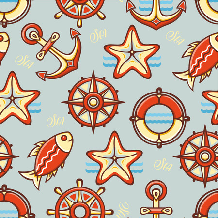 colorful style: Beautiful sea seamless pattern. Anchor, steering wheel, compass, starfish, fish. Cheerful colorful style. Line drawing festive. Vector drawing.