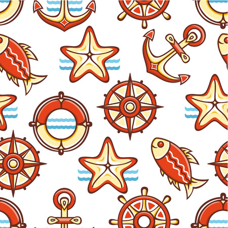 colorful style: Beautiful sea seamless pattern. Anchor, steering wheel, compass, starfish, fish. Cheerful colorful style. Linear pattern on a white background. Line drawing festive. Vector drawing. Illustration