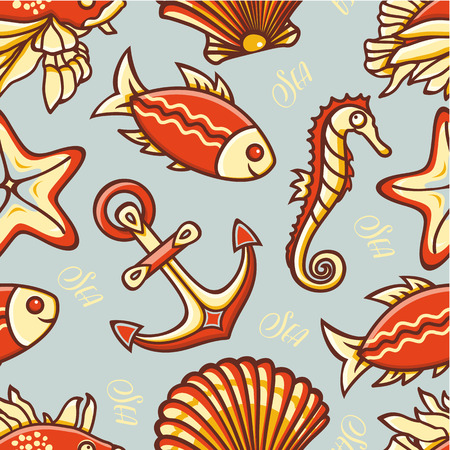 colorful style: Beautiful sea seamless pattern. Anchor, fish, shell, starfish, seahorse. Cheerful colorful style. Line drawing festive. Vector drawing.