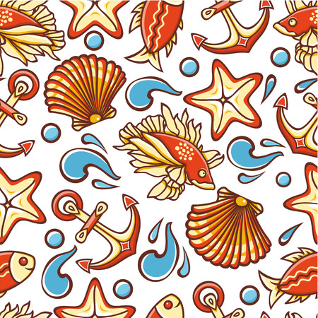 shell fish: Beautiful sea seamless pattern. Anchor, waves, shell, fish, starfish. Cheerful colorful style. Linear pattern on a white background. Line drawing festive. Vector drawing.
