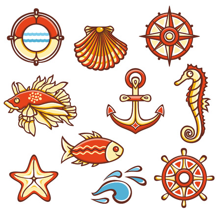 colorful style: Sea set. Fish, starfish, seahorse, steering wheel, compass, life buoy, waves, anchor, shell. Cheerful colorful style. Linear pattern on a white background. Line drawing festive. Vector drawing.