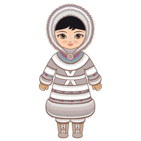 huskies: La chica en traje de esquimal. Ropa hist�rica. El Extremo Norte. Dibujo de colores sobre un fondo blanco. L�nea dibujo festivo. Dibujo vectorial.