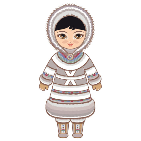 fur hood: The girl in Eskimo dress. Historical clothes. The Far North. Colorful drawing on a white background. Line drawing festive. Vector drawing.