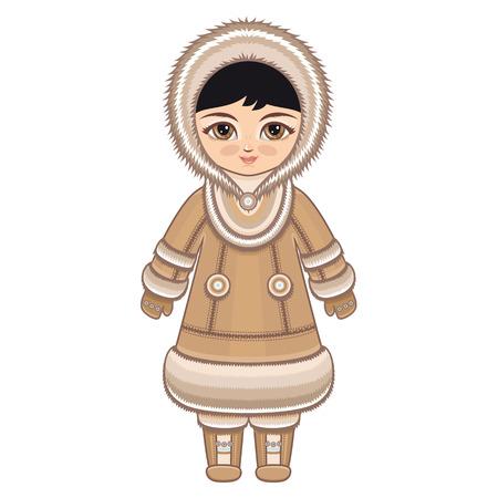 Het meisje in Chukcha jurk. Historische kleding. De Far North. Kleurrijke tekening op een witte achtergrond. Lijntekening feestelijk. Vector tekening.