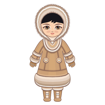 fur hood: The girl in Chukcha dress. Historical clothes. The Far North. Colorful drawing on a white background. Line drawing festive. Vector drawing.