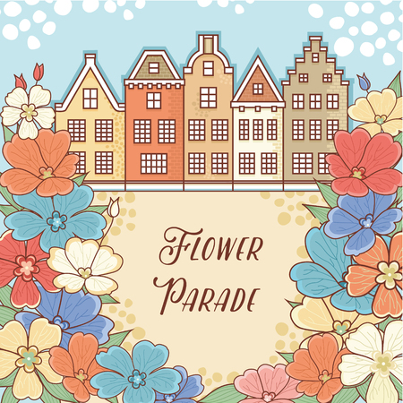 parade: Flower Parade in Holland. Netherlands. Flower pattern. Layout Billboard for the designer. Label. Template. Cheerful colorful style. Line drawing festive. Vector drawing.