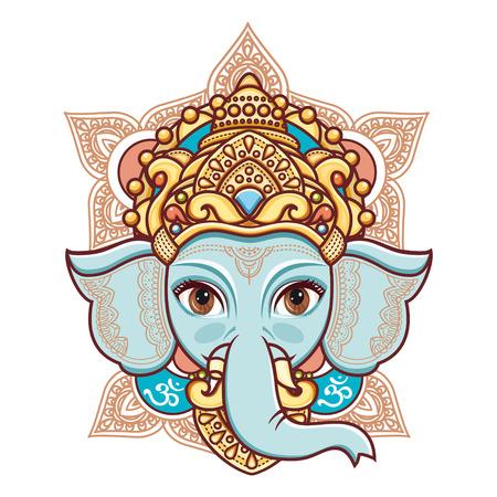 Hindoe olifant hoofd God Lord Ganesh. Hindoeïsme. Gelukkig Ganesh Chaturthi. Vector elementen geïsoleerd. Hand getekende paisley achtergrond. Indisch, Hindu motieven. Henna tattoo, yoga, textiel, sticker. Vrolijke kleurrijke stijl.