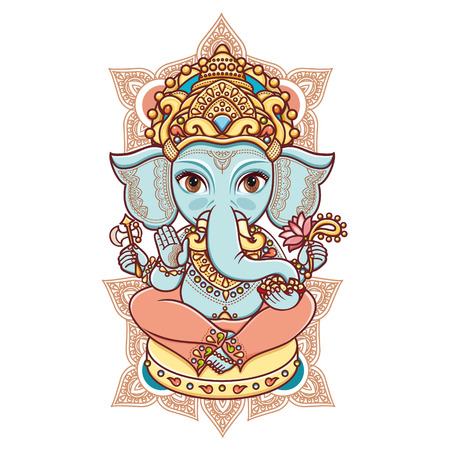 hinduism: Hindu elephant head God Lord Ganesh. Hinduism. Happy Ganesh Chaturthi. Vector elements isolated. Hand drawn paisley background. Indian, Hindu motifs. Henna tattoo, yoga, textiles, sticker. Cheerful colorful style.