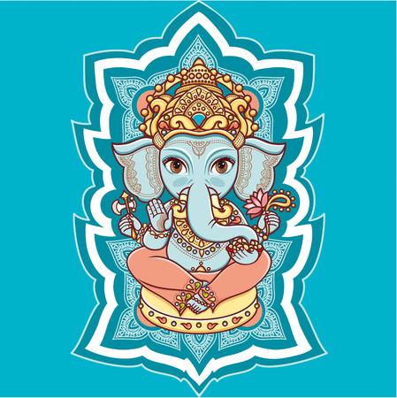 mano de dios: Cabeza de elefante Ganesh Dios hind� Se�or. Hinduismo. Feliz Ganesh Chaturthi. Elementos del vector aislados. Dibujado a mano de fondo de Paisley. , Motivos hind�es de la India. Tatuaje de henna, el yoga, los textiles, la etiqueta engomada. Estilo colorido alegre. Vectores