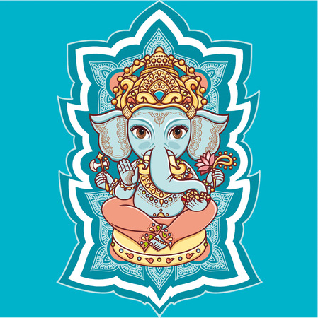 Hindu elephant head God Lord Ganesh. Hinduism. Happy Ganesh Chaturthi. Vector elements isolated. Hand drawn paisley background. Indian, Hindu motifs. Henna tattoo, yoga, textiles, sticker. Cheerful colorful style.
