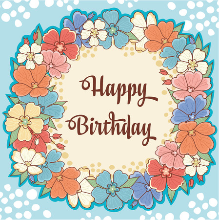 childrens birthday party: Card. Congratulations. Childrens birthday. Flower cheerful frame. Colorful flowers on a blue background. Vector illustration.