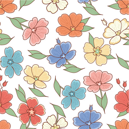 line drawing: Floral pattern. Flower. Seamless pattern. Line drawing festive. Vector drawing. Vettoriali