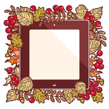 mountain ash: Autumn frame. Autumn background. Birch. Maple. Rowan. Oak. The tablet. Mountain ash. Banner. Shortcut. Label. Vector illustration. Vector elements isolated.