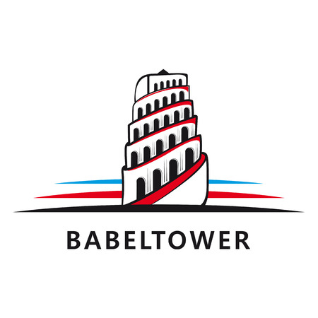 Tower of Babel logo. Vector illustration on white background. logotype.