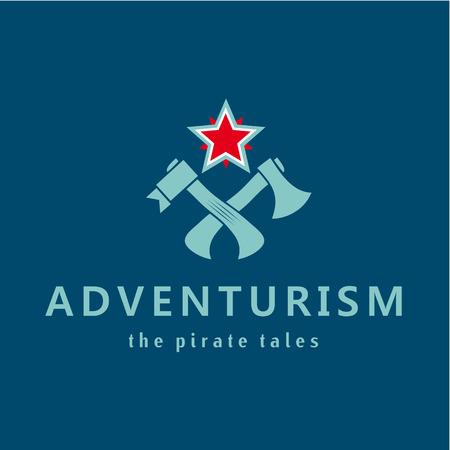 stories: Adventure. Pirate stories. Adventurism. Vector logo. Axe, a star, a hammer.