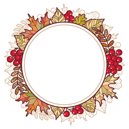 mountain ash: Autumn frame. Autumn background. Vector drawing on white background. Icons. Autumn background. Birch. Maple. Rowan. Oak. Mountain ash. Banner. Vector elements isolated. Outline drawing. Template for a designer. Circles.