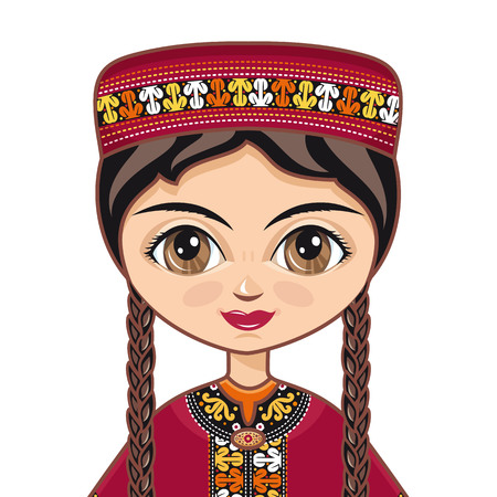 skullcap: The girl in Turkmen dress. Historical clothes. Turkmenistan. Vector drawing on white background. Isolated image. Portrait. Avatar. Illustration