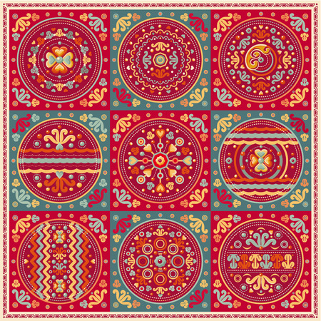 patchwork pattern. Ethnic geometric print. Wallpaper, pattern fills, web page background, surface textures. Wrapping. Festive packaging. Geometric carpet.