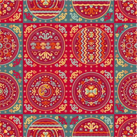 patchwork pattern: Seamless patchwork pattern. Ethnic geometric print. Wallpaper, pattern fills, web page background, surface textures. Wrapping. Festive packaging. Geometric carpet. Web tile. Oriental style. Illustration