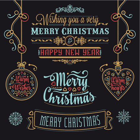 Christmas Lettering Design Set. Decorative elements for winter holidays. Typographic messages. Vintage Christmas Background With Typography. Best for greeting cards, invitations. Illustration