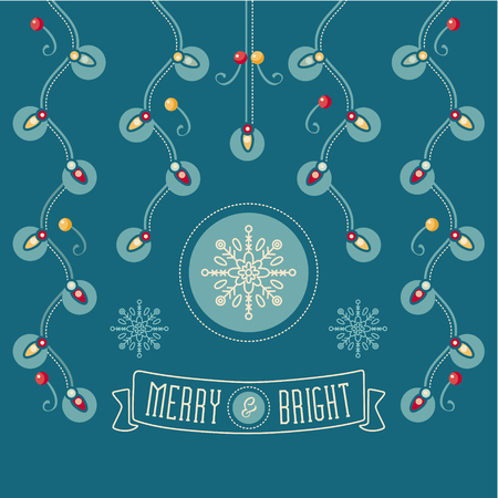 chaplet: Christmas card. Christmas greeting. Happy holidays wish. Garland and snowflake. Merry and Bright