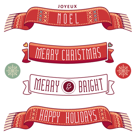 joyeux: Merry Christmas. Joyeux Noel. Christmas set. Happy holidays. Winter holiday. Merry and Bright. Scarf. Ribbons. Best for greeting cards, invitations. Illustration