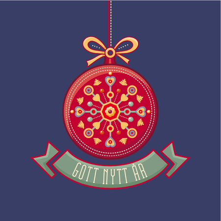 Swedish Text Gott Nytt Ar - Happy new year message. For Seasons Greetings. Scandinavian new year card. Julekort med.
