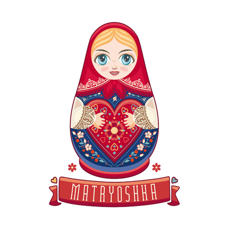 babushka: Matryoshka. Russian folk wooden doll. Babushka doll. Vector illustration on white background