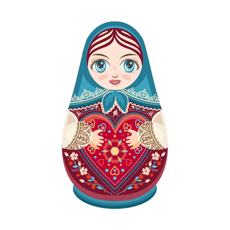 babushka: Matryoshka. Russian folk wooden doll. Babushka doll. Raster illustration on white background Stock Photo