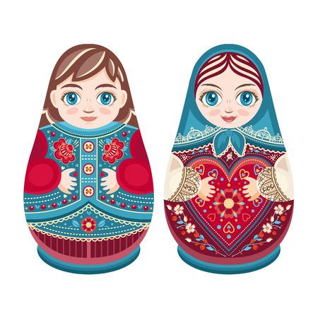 muneca vintage: Matryoshka. muñeca de anidación ruso popular. Babushka muñeca. amantes de la pareja dulce. Niño y niña. Ilustración vectorial sobre fondo blanco