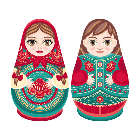 babushka: Matryoshka. Russian folk nesting doll. Babushka doll. Sweet loving couple. Boy and girl. Vector illustration on white background Illustration