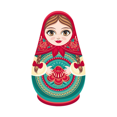 Matryoshka. Russian folk wooden doll. Babushka doll. Vector illustration on white background
