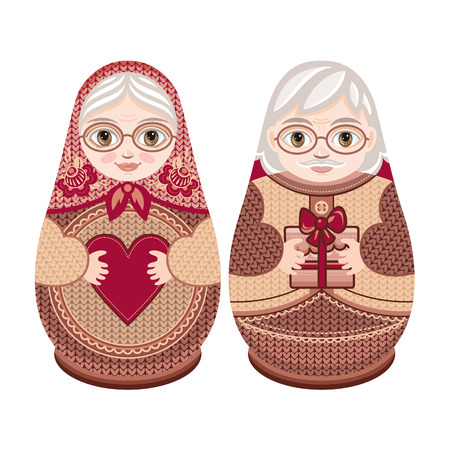 abuela: Matryoshka. mu�eca de anidaci�n ruso popular. Babushka mu�eca. Familia. Abuela y abuelo. Ilustraci�n vectorial sobre fondo blanco