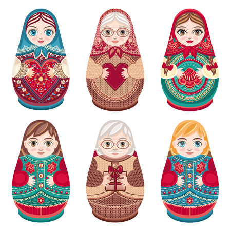 grandmamma: Matryoshka. Russian folk nesting doll. Babushka doll. Set. Vector illustration on white background