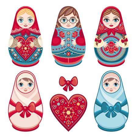 russian doll: Matryoshka. Russian folk nesting doll. Babushka doll