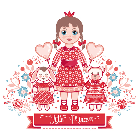 Happy birthday greetings card for girl illustration of cute happy birthday greetings card for girl illustration of cute little princess stock vector m4hsunfo