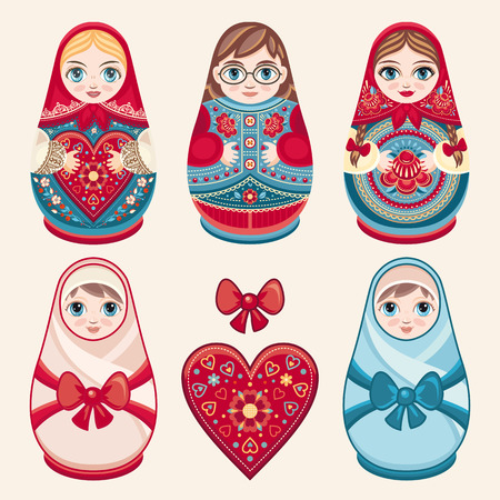 babushka: Matryoshka. Russian folk nesting doll. Babushka doll. Family set. illustration on white background Illustration