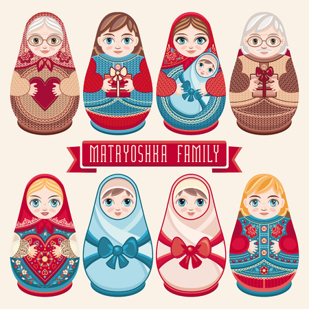 babushka: Matryoshka. Russian folk nesting doll. Babushka doll. Family set. Illustration