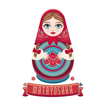 Matryoshka. popular rusa muñeco de madera. Babushka muñeca. Ilustración sobre fondo blanco