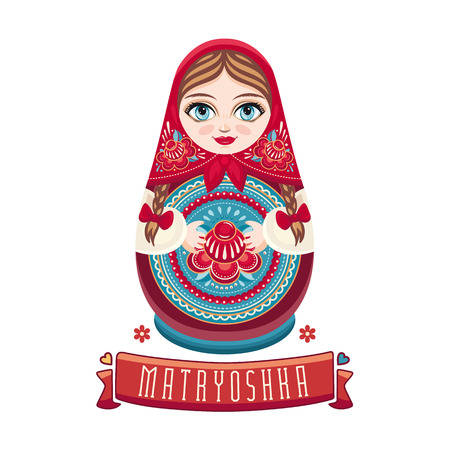 babushka: Matryoshka. Russian folk wooden doll. Babushka doll. illustration on white background