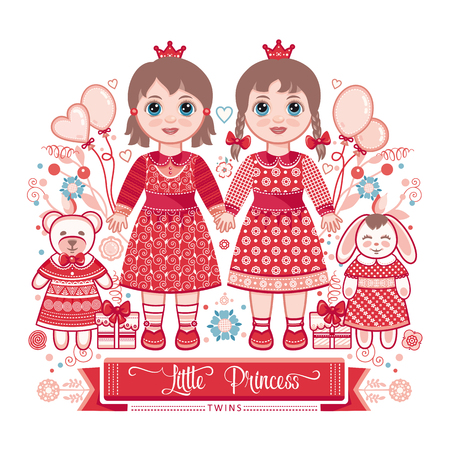 little princess: Happy birthday - greetings card for girl. Illustration of cute little princess. Twins