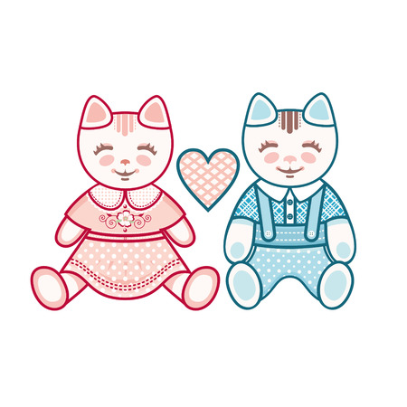 lover: Cute kittens. Boys and girls. A couple of lovers kittens