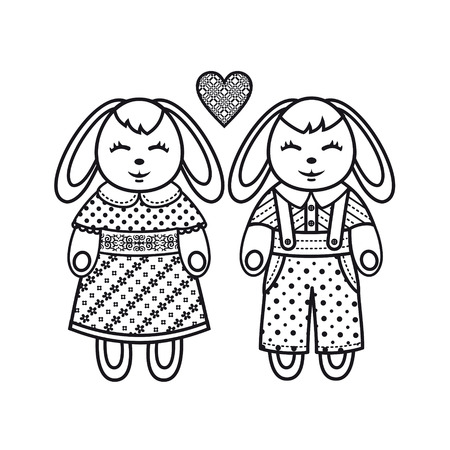 hares: Cute hares. Coloring book animals. Monochrome set. Cute animals.