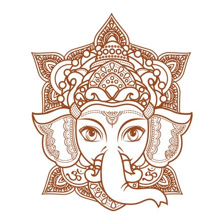 Hindoe olifant hoofd God Lord Ganesh. Hindoeïsme. Paisley achtergrond. Indian, Hindu motieven. Henna tattoo, textiel, sticker. Vrolijke kleurrijke stijl. Vector-elementen geïsoleerd. Monochrome lineaire figuur