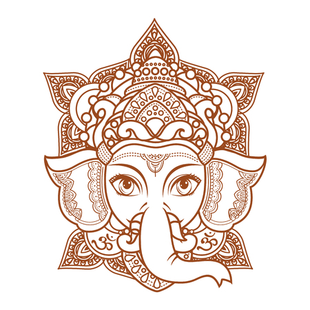 Hindu elephant head God Lord Ganesh. Hinduism. Paisley background. Indian, Hindu motifs. Henna tattoo, textiles, sticker. Cheerful colorful style. Vector elements isolated. Monochrome linear figure