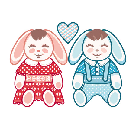niño y niña: liebres lindo. Niños y niñas. Un par de amantes de los conejos. Vectores