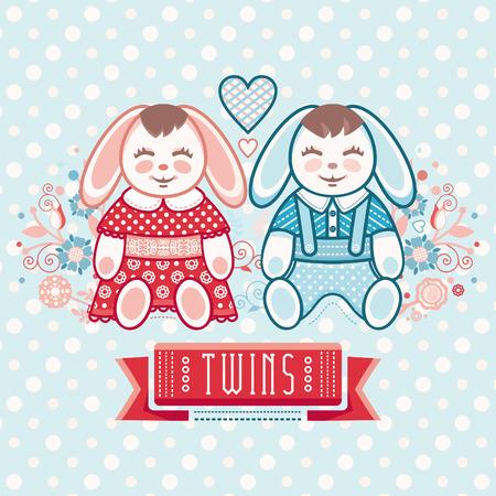 cute baby girls: Newborn little baby. Twins. New little boy and girl. Cute hares. Boys and girls. Greeting card of the newborn.
