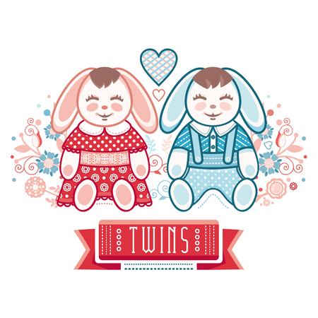 cute baby girls: Newborn little baby. Twins. New little boy and girl. Cute hares. Boys and girls. Greeting card of the newborn.