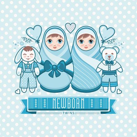 baby care: Newborn little baby. Twins. New little boy. Matryoshka. Greeting card of the newborn.