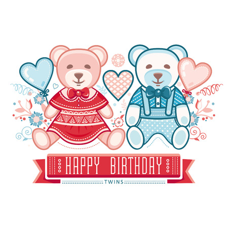cute baby girls: Newborn little baby. Twins. New little boy and girl. Cute cubs. Boys and girls. A couple of lovers bears. Greeting card of the newborn.